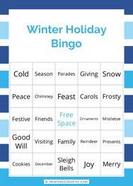 Winter Holiday Bingo