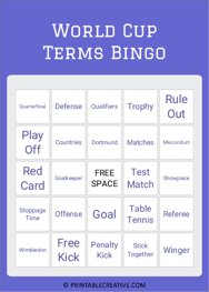 World Cup Terms Bingo