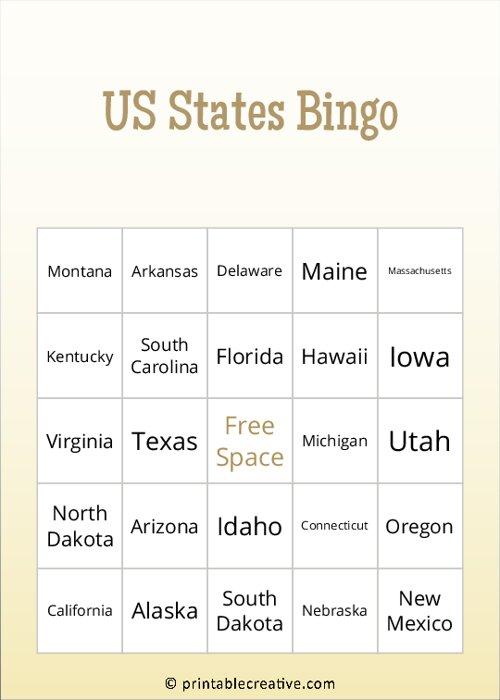 US States Bingo