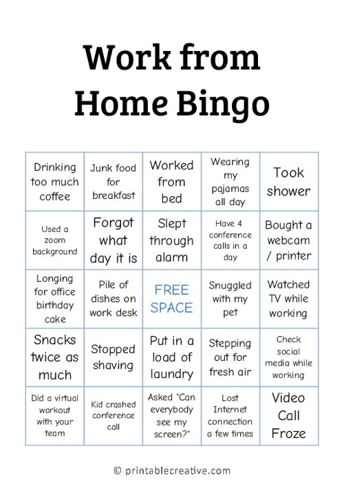 Work from Home Bingo