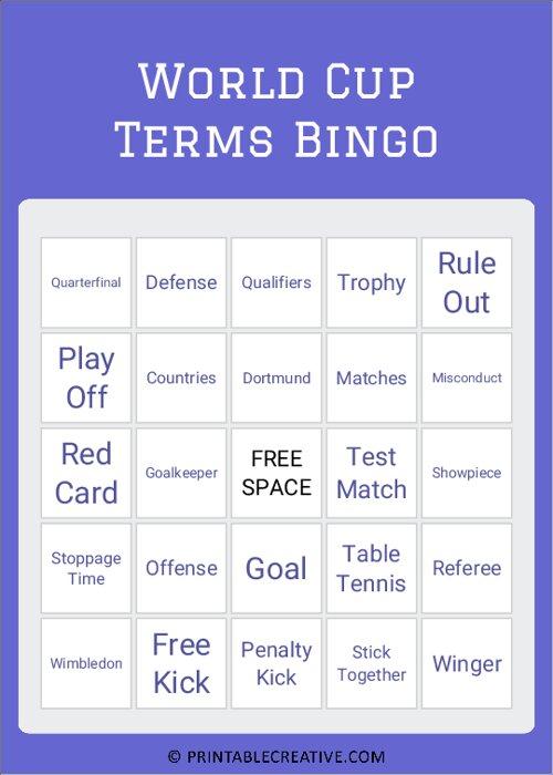 World Cup Terms Bingo