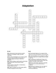 Adaptation Crossword Puzzle
