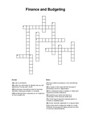 Finance and Budgeting Crossword Puzzle