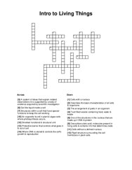 Intro to Living Things Crossword Puzzle