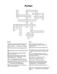 Puritan Crossword Puzzle