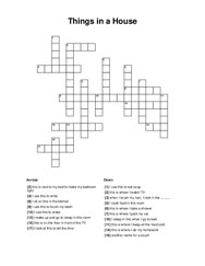 Things in a House Crossword Puzzle