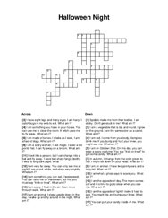 Halloween Night Crossword Puzzle