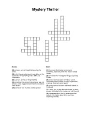 Mystery Thriller Crossword Puzzle
