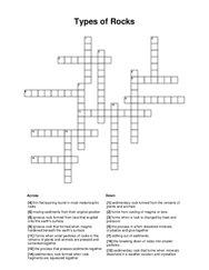 Types of Rocks Crossword Puzzle