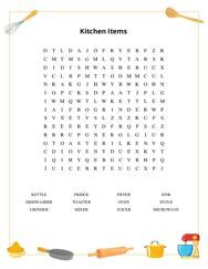 Kitchen Items Word Search Puzzle