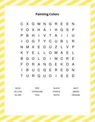Painting Colors Word Search Puzzle