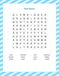 Paw Patrol Word Search Puzzle