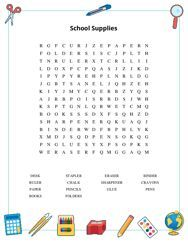 School Supplies Word Search Puzzle