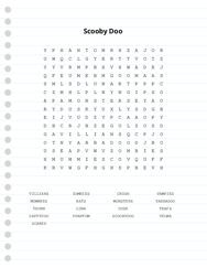 Scooby Doo Word Search Puzzle