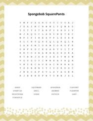Spongebob SquarePants Word Search Puzzle