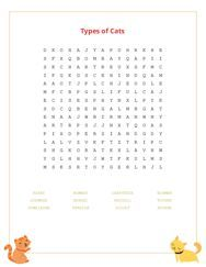 Types of Cats Word Search Puzzle