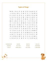 Types of Dogs Word Search Puzzle