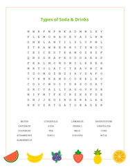 Types of Soda & Drinks Word Search Puzzle