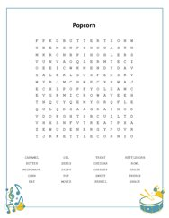 Popcorn Word Search Puzzle