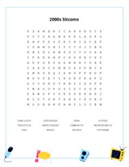 2000s Sitcoms Word Search Puzzle
