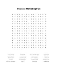 Business Marketing Plan Word Search Puzzle
