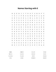 Names Starting with E Word Search Puzzle