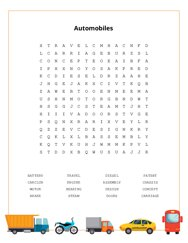 Automobiles Word Search Puzzle