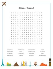 Cities of England Word Search Puzzle