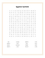 Egyptian Symbols Word Search Puzzle