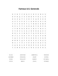 Famous U.S. Generals Word Search Puzzle