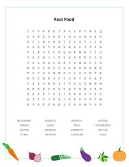 Fast Food Word Search Puzzle