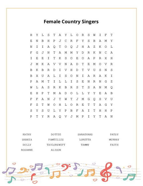 Female Country Singers Word Search Puzzle