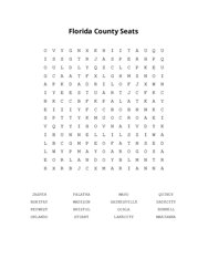 Florida County Seats Word Search Puzzle