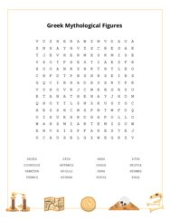 Greek Mythological Figures Word Search Puzzle