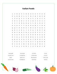 Italian Foods Word Search Puzzle