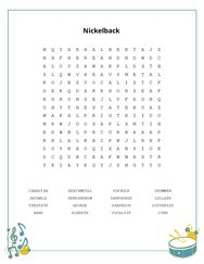 Nickelback Word Search Puzzle