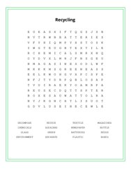 Recycling Word Search Puzzle