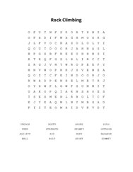 Rock Climbing Word Search Puzzle