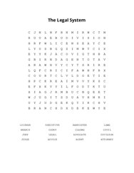 The Legal System Word Search Puzzle