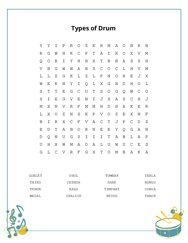 Types of Drum Word Search Puzzle