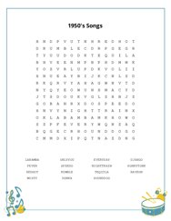 1950s Songs Word Search Puzzle