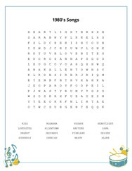 1980s Songs Word Search Puzzle