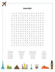 Australia Word Search Puzzle