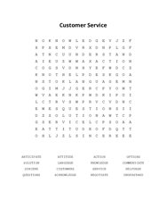 Customer Service Word Search Puzzle