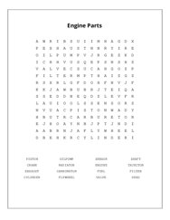 Engine Parts Word Search Puzzle