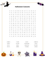 Halloween Costume Word Search Puzzle