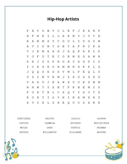 Hip-Hop Artists Word Search Puzzle