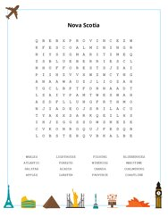Nova Scotia Word Search Puzzle