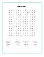 Social Media Word Search Puzzle
