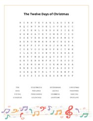 The Twelve Days of Christmas Word Search Puzzle